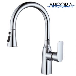 Arcora Single Handle Chrome Kitchen Sink Faucet with Sprayer High Arc